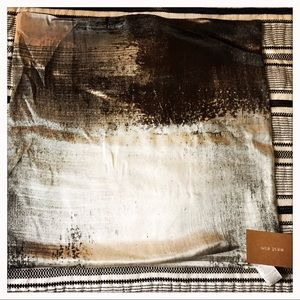 West Elm Gray/Black Abstract Silk Pillow Cover